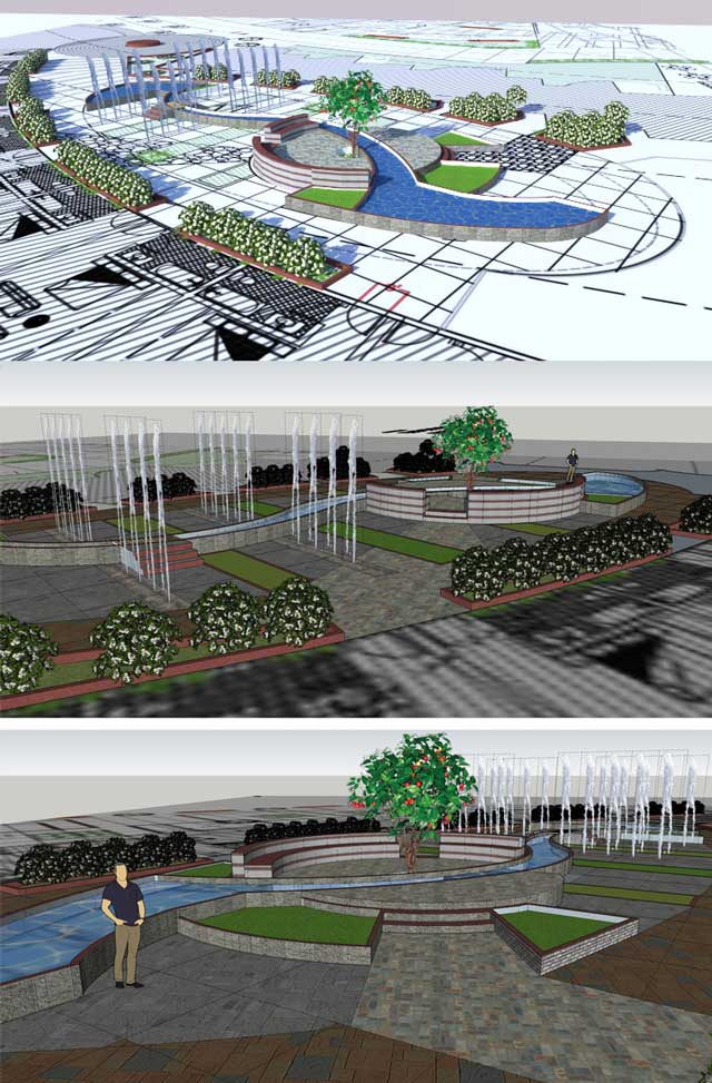 Aparna Tandon(Architect)continued herwork ontheCompressed Earth Block Villageexternal elements. What you see here is her 30th week of work, focusing on 3D Sketchup development of the central area between the North and South residential wings.