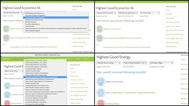 This week thecore teamworking withAshwin Patil(Web Developer)finished version 2.0 of theHighest Good economicssearch engine and version 3.0 of theHighest Good energysearch engine. You can see some of this work here.
