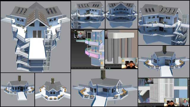 Guy Grossfeld (Graphic Designer)continued helping with theTree House Village (Pod 7)renders. What you see here are updated renders of the Game Room structure, Shower Tower structure, and a few screenshots from our weekly collaborative call.