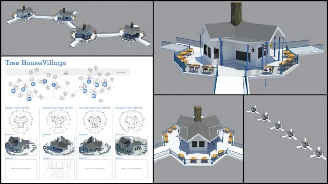 Guy Grossfeld(Graphic Designer)continued helping with the Tree House Village (Pod 7)renders. What you see here are initial renders of the Game Room structure and beginning to layout and test render multiple buildings.
