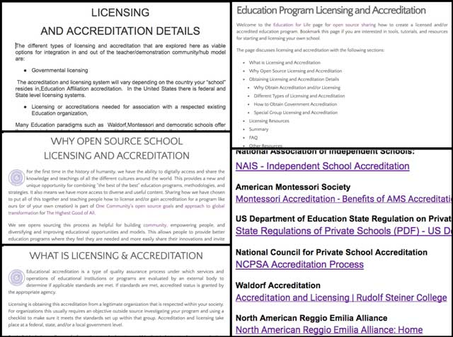 We also continued the research and initial construction and formatting of the School Licensing and Accreditation tutorial. You can see some of this work here and we'd say we're about 50% complete with this tutorial now.