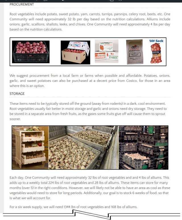 This week, the core team continued editing the Food Self-sufficiency Transition Plan hub page and the Food Bars page, and researched procurement for root vegetables, as you see here.