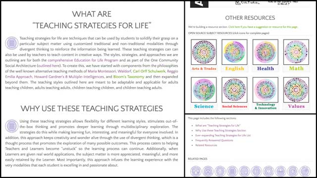 This week, the core team working with Sangam Stanczak (Ph.D. and P.E.), added a What and Why section, updated formatting, and new table of contents to the Teaching Strategies for Life page. This completes this page's update to the newest formatting we're using for all the other pages of the site.