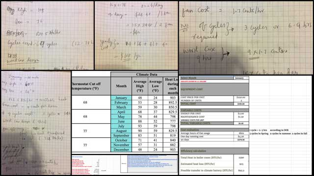 Aravind Vasudevan (Mechanical Engineer) continued his calculations and research for climate battery component of the City Center Heating and Cooling open source hub. You can see here his fan-use break-even cost analysis and some of his hand calculations related to this.