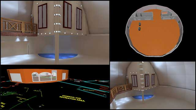 Dipti Dhondarkar, (Electrical Engineer) continued with her 49th week of work on the lighting specifics for the City Center. This week's focus was adding in the pool and walkway lighting details for the Social Dome and beginning to model the Dining Dome, as shown here.