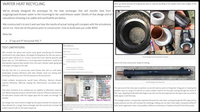 Once we finished this video, we also added it to the Communal Eco-shower page and updated the page with a parts list, testing descriptions, and other details, as shown here.
