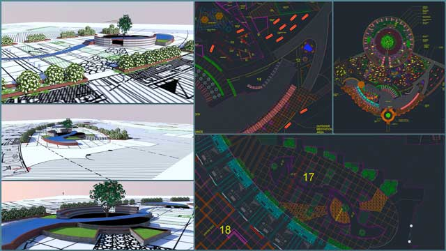 Aparna Tandon(Architect)continued herwork ontheCompressed Earth Block Villageexternal elements. What you see here is her 31st week of work, focusing on 3D Sketchup development of the central area between the North and South residential wings, plus zones 12 and 14 by the East offices.
