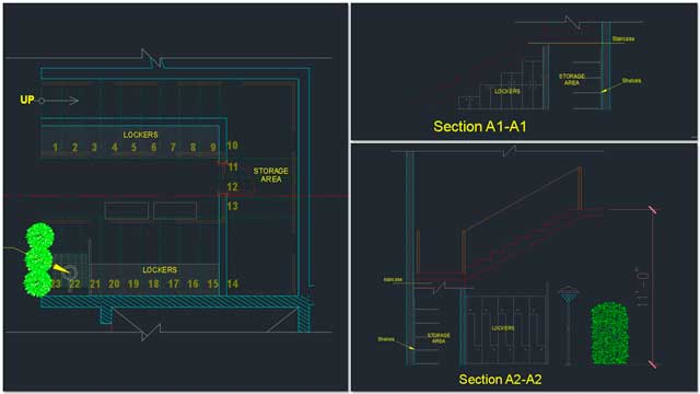 Renan Dantas: Mechanical Engineer continued with his 18th week working on the Duplicable City Center AutoCAD updates. This week's focus was the under-stair locker and rinse-shower details shown in the sections here.