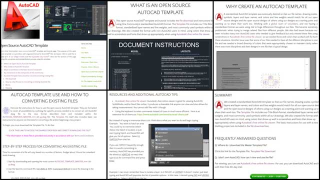 This week the core team finished the Open Source AutoCAD Template page and tutorial. This included updated menus, images, formatting, added resources, and more