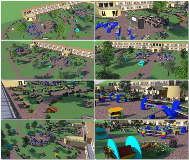 This week the core team continued Sketchup design for the open source outdoor areas of the Recycled Materials Village (Pod 6). We finalized 8 new renders of the outdoor Art and Library Areas and added the images to the site. Here are the images showing several different perspectives for each of these two areas that function as outdoor extensions of the indoor spaces purposed for the same use.