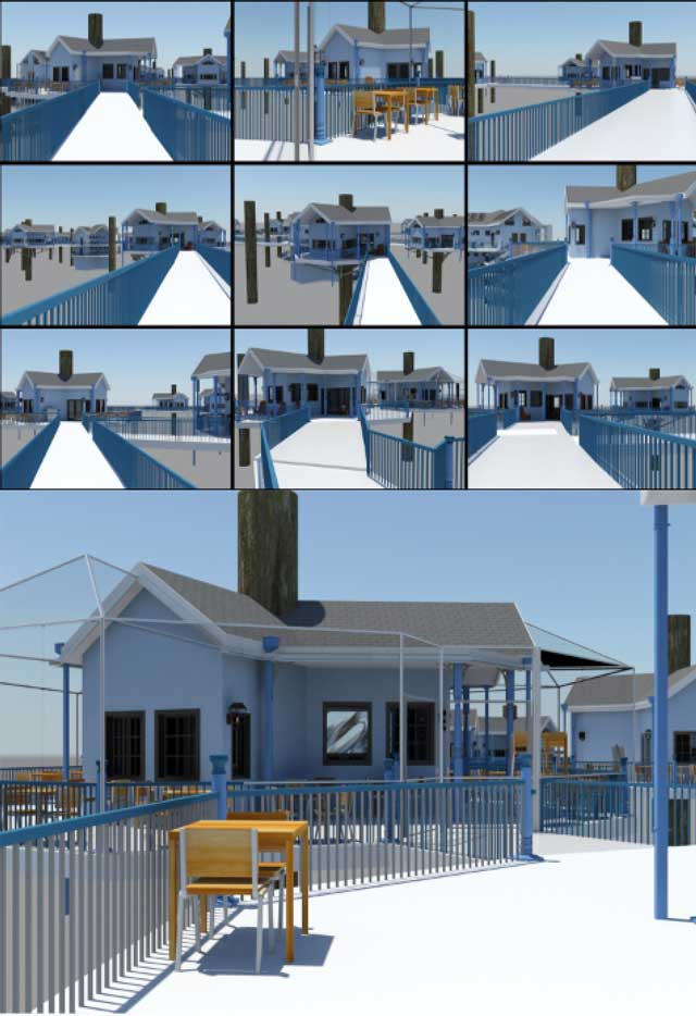Guy Grossfeld(Graphic Designer)continued helping with theTree House Village (Pod 7)renders. This week he ran final high-quality renders for all the internal village perspectives, as shown here.