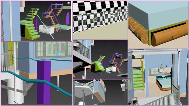 Samantha Robinson (3D Designer) completed her 7th week working on the interior design for the living structure of the Tree House Village (Pod 7). This week's focus, as shown here, was revisions for the drawers under the bed, adjustments to the floor plan, and working on the stairway railing details.