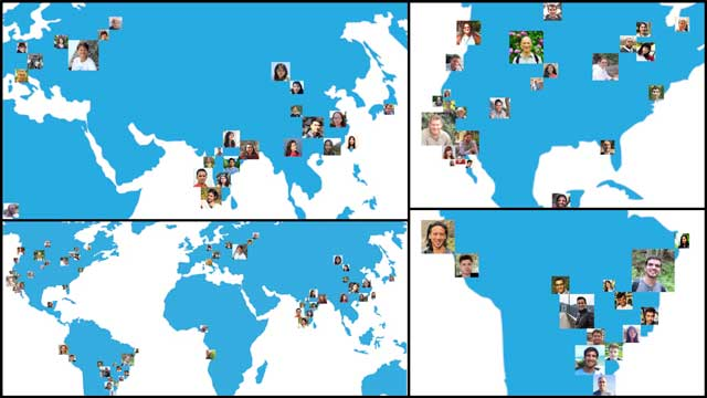 This last week the core team invested several more hours developing the graphic showing where all our collaborators and volunteers are from. The focus was adding and organizing what will be the first wave of images that will appear. This information will be featured in our overview video and on the Team page. You can see here this work in progress.