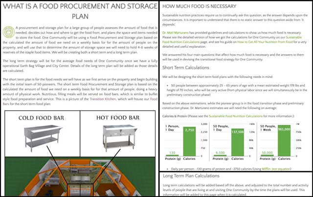 This week, the core team continued editing the Food Self-sufficiency Transition Plan pages. We streamlined the Food Bars page and created the long term and short term strategy sections on the new Food Procurement and Storage Plan page, as you see here.