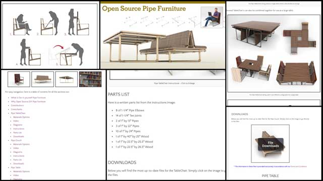 This week, the core team completed the final round of revisions for the DIY Pipe Furniture page. These included reorganizing the order of the sections and many of the images, adding the open source files to the open source folders, updating the table of contents links, and beginning the creation process for the final header and social media images.