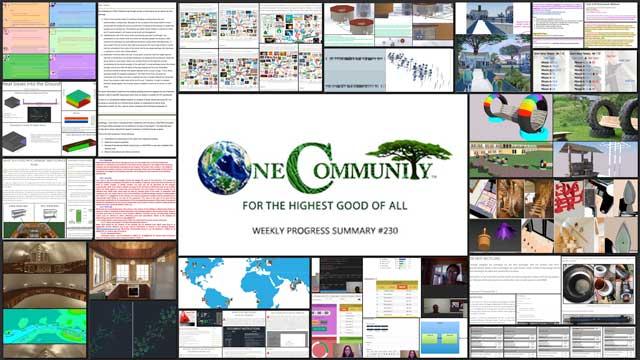 Creating a Better World – One Community Weekly Progress Update #230