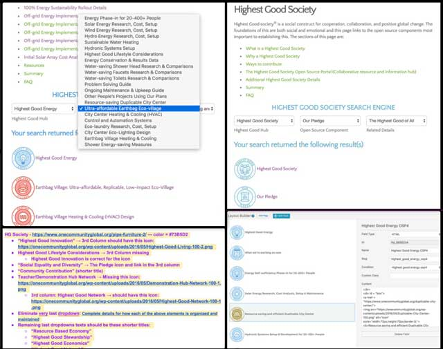This week the core team working with Ashwin Patil (Web Developer) finished another round of revisions and added the Search Engine to the Highest Good society page, bringing this search engine to 95% complete. We also finished final revisions to the Highest Good energy search engine, bringing it to 100% complete.