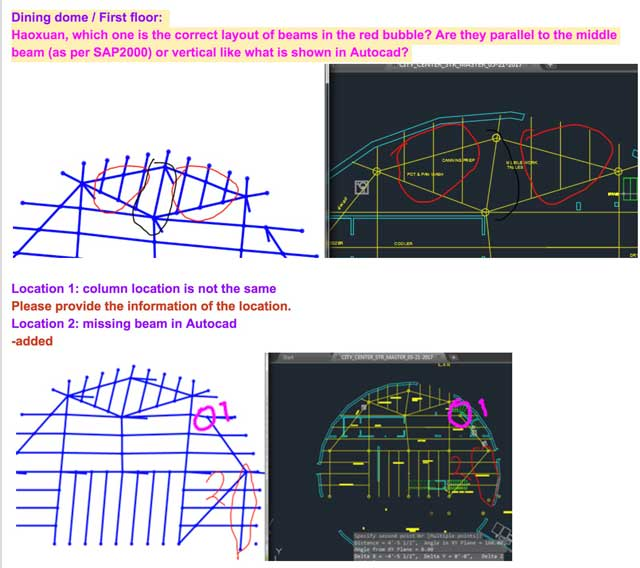 Oruba Rabie(Ph.D, PE, and Civil Engineer)also continued working on theCity Center structural engineeringAutoCAD and SAP2000 models corrections, fixing them in SAP2000 and making notes like the ones shown here for corrections needed in AutoCAD.