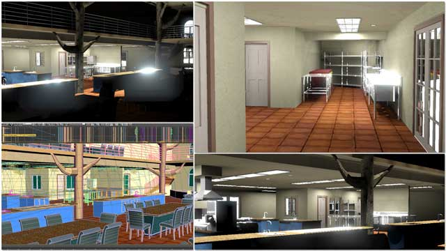 Dean Scholz(Architectural Designer)continued helping us create qualityCob Village (Pod 3)renders. Here is update 87 of Dean's work, continuing to test and develop the textures and lighting from the skylights and windows for the central dining, presentation hall, and adjacent kitchen areas.