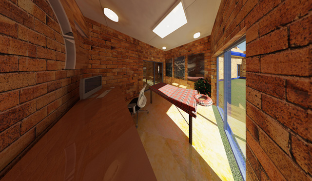 Hamilton Mateca (AutoCAD and Revit Drafter and Designer), Compressed Earth Block Village final render of the Massage and Treatment Room Looking Northeast, One Community