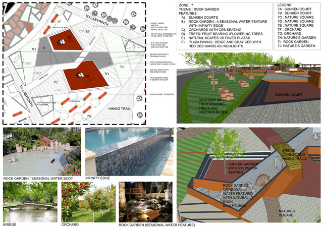 Aparna Tandon (Architect) continued her work on the Compressed Earth Block Village external elements. What you see here is her 36th week of work, focusing on the final presentation shown here and live on the site for the Zone 7, the Northwest Relaxation Space with Seasonal Ponds.