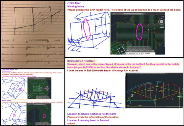 Oruba Rabie (Ph.D, PE, and Civil Engineer)also continued working on theCity Center structural engineeringAutoCAD and SAP2000 models corrections. This week she finished corrections for the Living and Social domes in SAP2000 and provided the needed corrections shown here for AutoCAD.