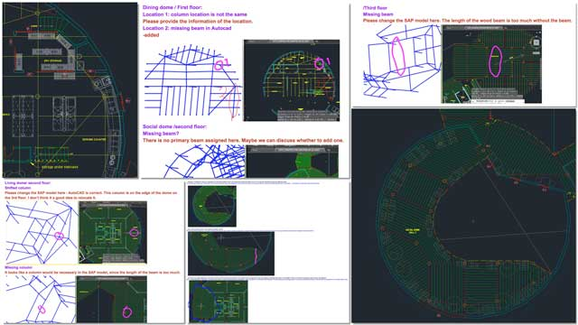 "Oruba Rabie (Ph.D, PE, and Civil Engineer) and Haoxuan ""Hayes"" Lei (Structural Engineer) also continued working on the City Center structural engineering details. What you see here are some screenshots of their process continuing to find and correct errors and discrepancies between the AutoCAD and SAP2000 models."