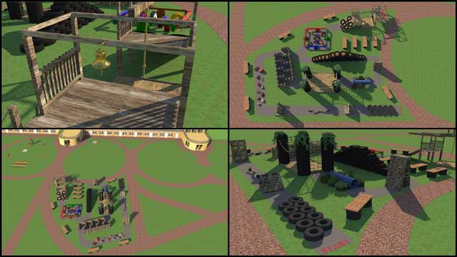 The core team continued Sketchup design for the open source outdoor areas of the Recycled Materials Village (Pod 6). This week's focus was working on the obstacle course. We reset the order of obstacles, designed and added 4 new obstacles, added a course path with START and FINISH signs, and added benches.