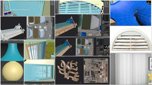 Samantha Robinson(Graphic Designer) completed her 11th week working on the interior design for the living structure of theTree House Village (Pod 7). This week's focus, as shown here, was creating top parts for the blinds downstairs and upstairs, recoloring the tree shelf, lamp, drawer, and doorknob details, and sculpting and painting the twin bed parts.