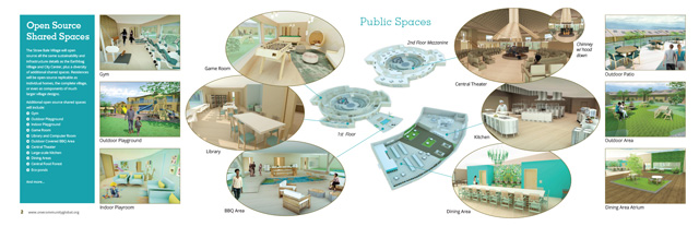 Straw Bale Village public spaces image, Straw Bale Village social spaces overview, Straw Bale Village Summary, Sustainable Community building, eco-living, green living, Highest Good Housing, building with strawbales, sustainable housing, eco-hotel, One Community Global