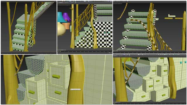 Samantha Robinson (Graphic Designer) completed her 12th week working on the interior design for the living structure of the Tree House Village (Pod 7). This week's focus, as shown here, was creating unwrapping the stairs and fixing errors so we can start texturing these areas.
