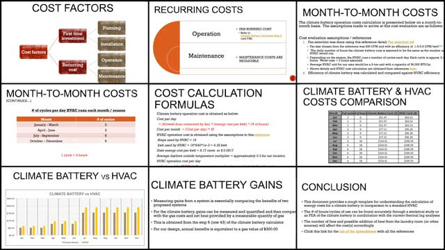 Aravind Vasudevan(Mechanical Engineer) continued his calculations and research for climate battery component of theCity Center Heating and Cooling open source hub. This week's focus was 4th-generation edits to the Climate Battery Cost Analysis. You can see here some of the edited and updated pages.