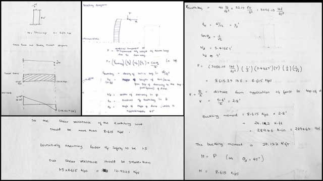 Hemanth Kotaru (Structural Engineering Masters Student) completed his 12th week with us doing research and running calculations for the Earthbag Village. This week's focus was research and calculations for the buttresses, as shown here.