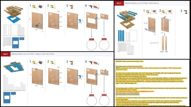 In addition, the core team continued working on the Murphy bed instructions, continuing to test different layouts. We also researched Canva and other documentation software and sketched up the layout. You can see this work here.