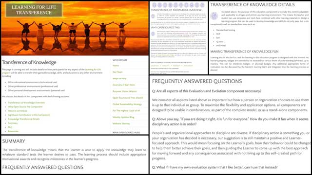 This last weekthe core teamcontinued adding to the educationEvaluation and Evolution processopen source pages and tutorials. This week we created the formatting and began entering the content for theTransference of Knowledgepage, as you can see here.