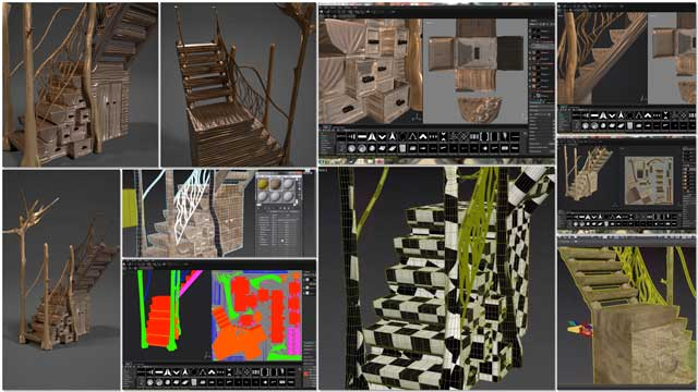 Samantha Robinson (Graphic Designer) completed her 13th week working on the interior design for the living structure of the Tree House Village (Pod 7). This week's focus, as shown here, was more unwrapping and texturing of the stairs component.