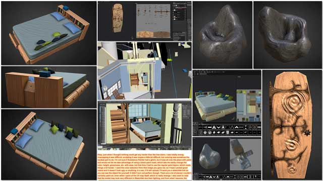 Samantha Robinson(Graphic Designer) completed her 15th week working on the interior renders for the living structures in theTree House Village (Pod 7). This week's focus, as shown here, was more unwrapping and texturing of the bed, door, and bean bag elements.