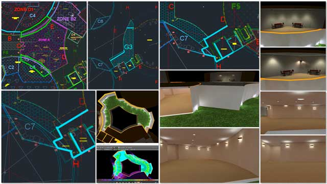 Dipti Dhondarkar,(Electrical Engineer)continued with her 58th week of work on thelighting specifics for the City Center. This week's focus was continuing the process of modeling the 2nd floor mezzanine level in Dialux and more updates to the lighting zones in AutoCAD.