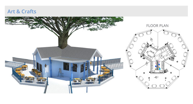 Tree house village Arts and Crafts structure, final render, One Community