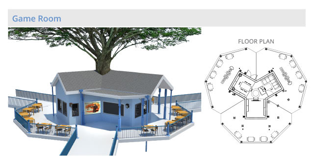 Tree house village Game Room structure, final render, One Community