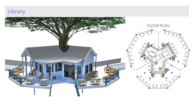 tree house floor plan. Tree House Village Library Structure, Final Render, One Community Floor Plan A
