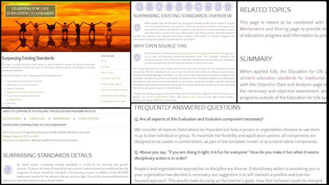 This week, the core teamcontinued adding to the educationEvaluation and Evolution process open source pages and tutorials. This week we created the formatting and began entering the content for theSurpassing Education Standardspage, as you can see here.