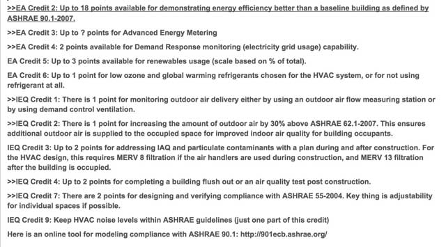 David Olivero (Mechanical Engineer & Data Scientist) completed his 7th week helping with the HVAC Designs for the Duplicable City Center. This week's focus was researching LEED details for maximizing sustainability points related HVAC design. What you see here are are some of the initial results of this research.