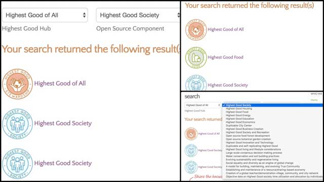 Ashwin Patil (Web Developer) continued working on the search engines for the website. This week we created version 2.0 of theHighest Good of Allsearch engine. You can see some of this work-in-progress here