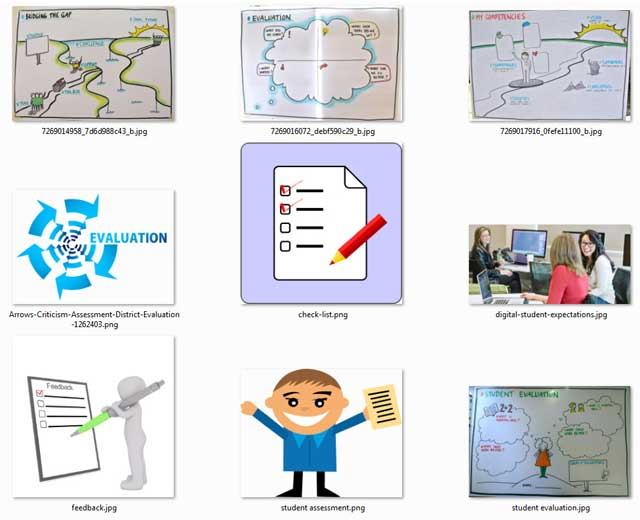 This week, the core teambegan researching images to add to the educationEvaluation and Evolution process open source pages and tutorials. This week we found 9 images for theAssessment Format page, as you can see here.