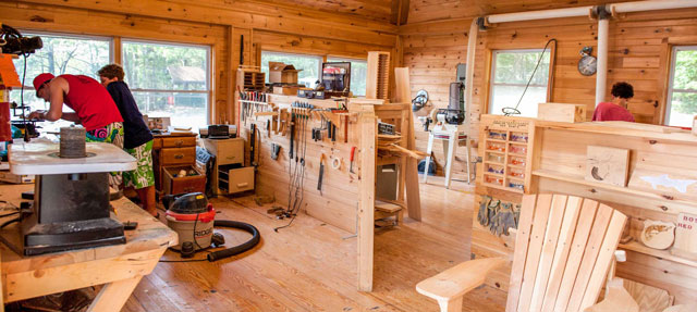 Woodwork maker's space, open source woodworking, carpentry, Cob Village, green living