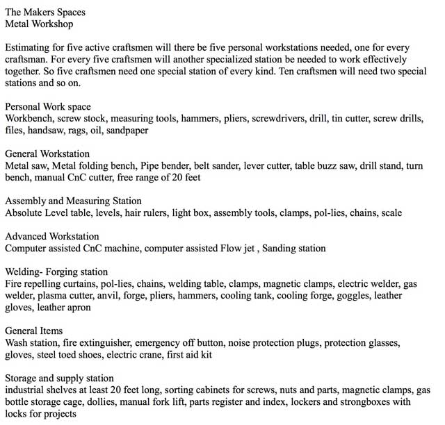 Also helping with theCob Villagedesigns, Patrick Lübben (Founder of theIna Maka Project) created this initial equipment list for the Metal Maker Space.