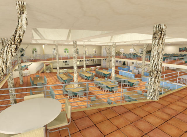 One Community Cob Village Central Dining View from 2nd floor final render blog 270