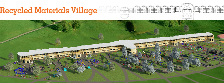 Recycled materials village overview, earthship-inspired village, tire construction, recycled building, eco-living