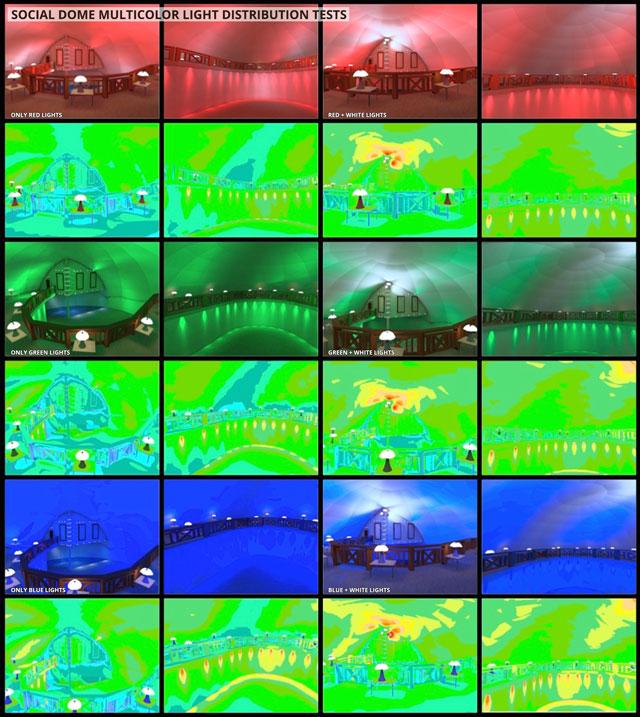 Social Dome lighting tests, multi-color lighting tests, eco-lighting, green lighting, red lighting, blue lighting, LIFX Bulb lighting, sustainable lighting